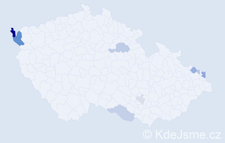 Příjmení: 'Bartok', počet výskytů 26 v celé ČR