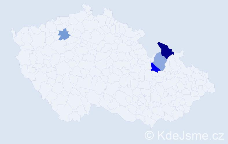 Příjmení: 'Curkan', počet výskytů 7 v celé ČR