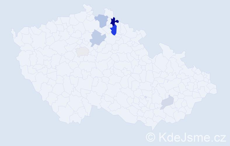Příjmení: 'Ceéová', počet výskytů 18 v celé ČR
