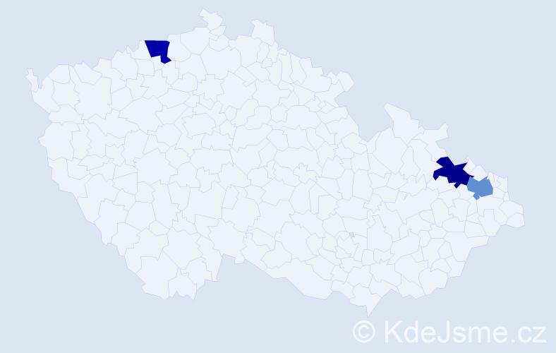 Příjmení: 'Ignac', počet výskytů 3 v celé ČR
