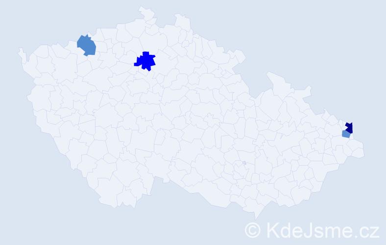 Příjmení: 'Gabrysz', počet výskytů 5 v celé ČR