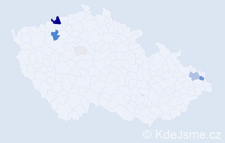 Příjmení: 'Koka', počet výskytů 9 v celé ČR
