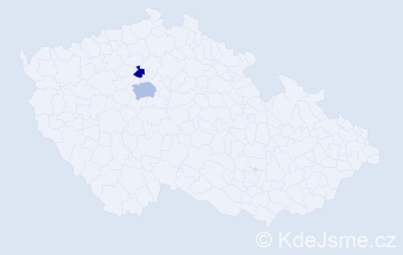 Příjmení: 'Hálkov', počet výskytů 4 v celé ČR