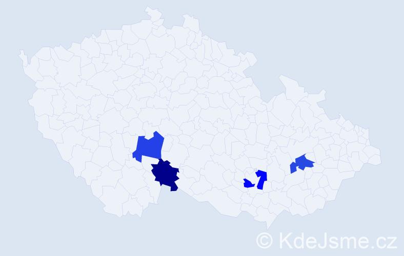 Příjmení: 'Blísa', počet výskytů 4 v celé ČR