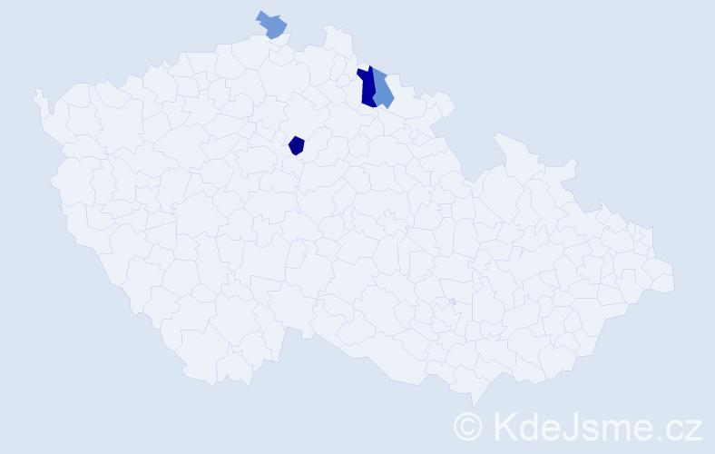 Příjmení: 'Čechotovská', počet výskytů 6 v celé ČR