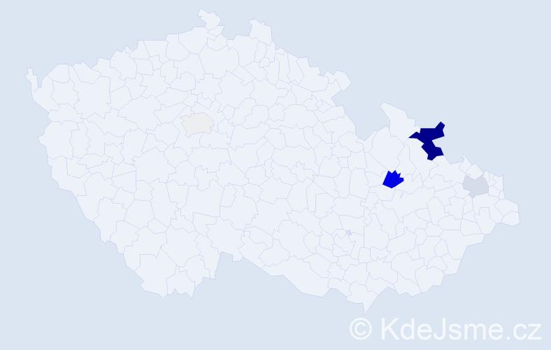 Příjmení: 'Ivanecký', počet výskytů 20 v celé ČR