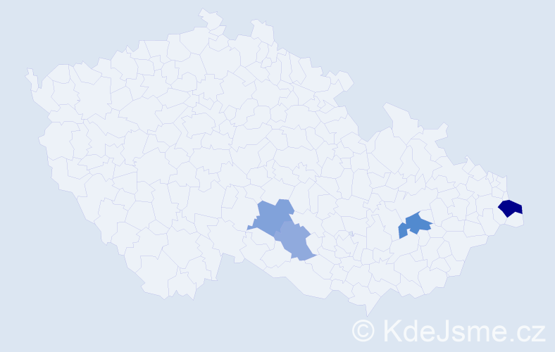 Příjmení: 'Habčák', počet výskytů 18 v celé ČR