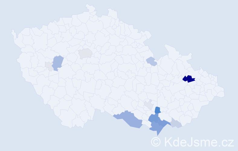 Příjmení: 'Kurdík', počet výskytů 35 v celé ČR
