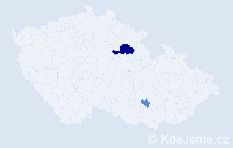 Příjmení: 'Karakeva', počet výskytů 2 v celé ČR