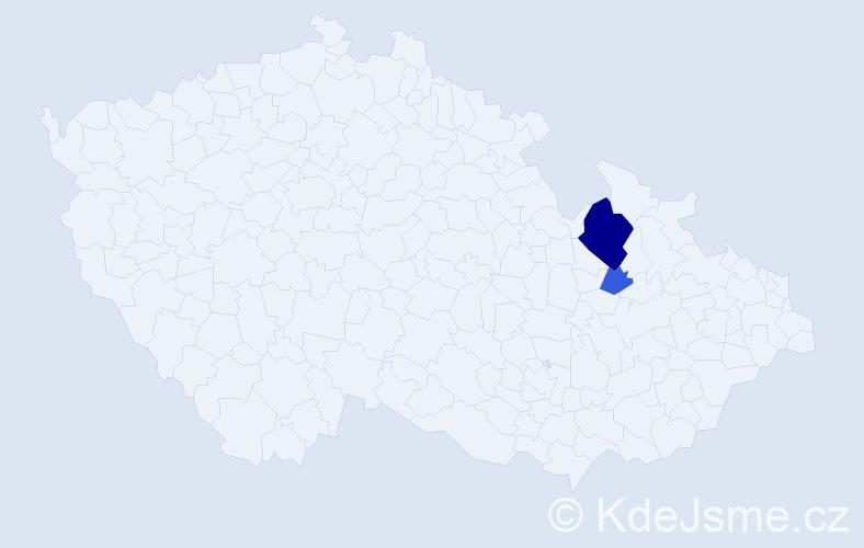 Příjmení: 'Čerevata', počet výskytů 6 v celé ČR