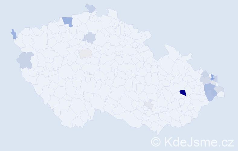 Příjmení: 'Hvolka', počet výskytů 37 v celé ČR