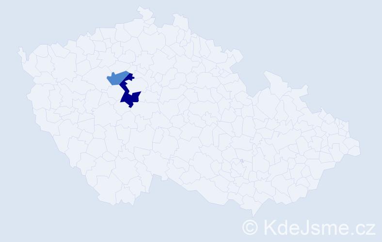 Příjmení: 'Dabrundashvili', počet výskytů 3 v celé ČR