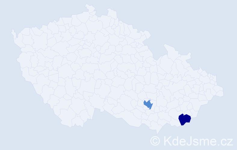 Příjmení: 'Fízeľová', počet výskytů 3 v celé ČR