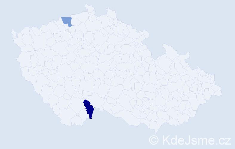 Příjmení: 'Čuliová', počet výskytů 2 v celé ČR