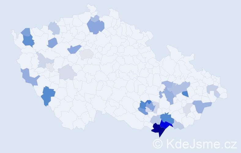 Příjmení: 'Filipovič', počet výskytů 114 v celé ČR