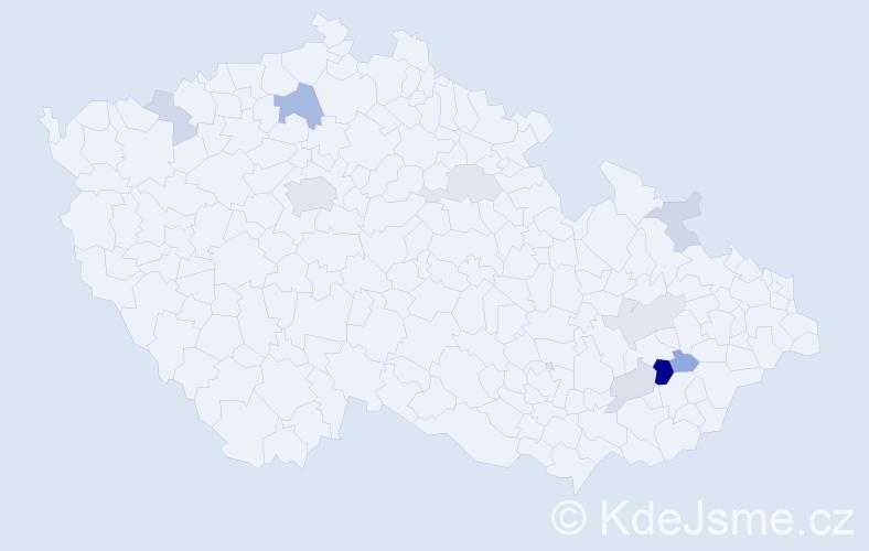Příjmení: 'Hafinec', počet výskytů 23 v celé ČR