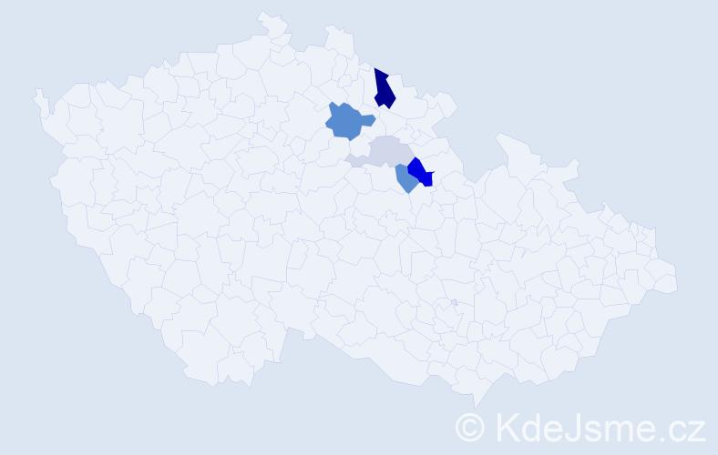 Příjmení: 'Etflaiš', počet výskytů 13 v celé ČR