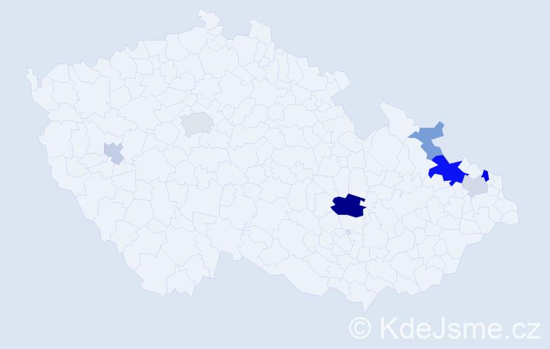 Příjmení: 'Kaliková', počet výskytů 16 v celé ČR