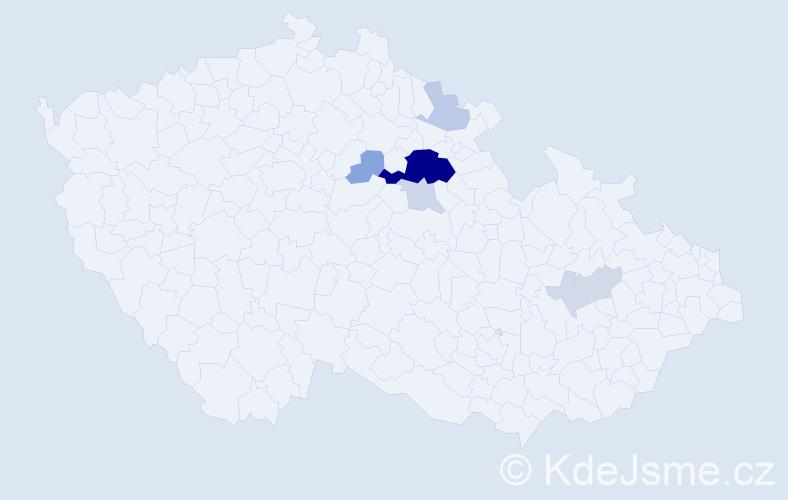 Příjmení: 'Machút', počet výskytů 19 v celé ČR