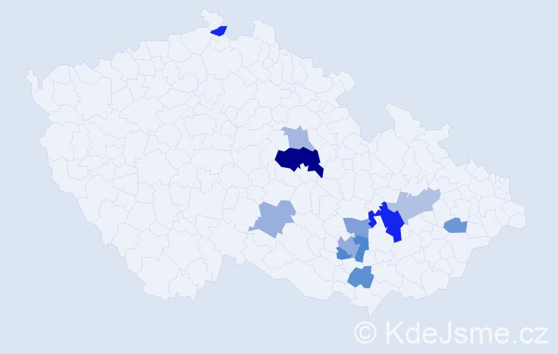Příjmení: 'Bezoušek', počet výskytů 21 v celé ČR