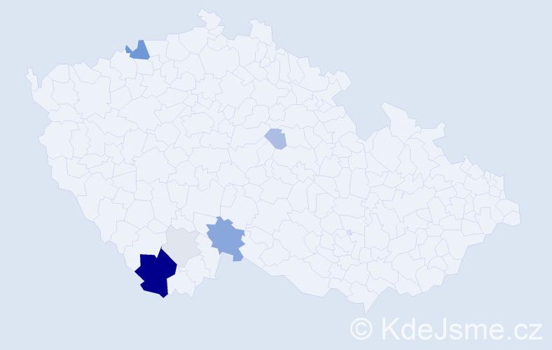 Příjmení: 'Hammerlindlová', počet výskytů 21 v celé ČR