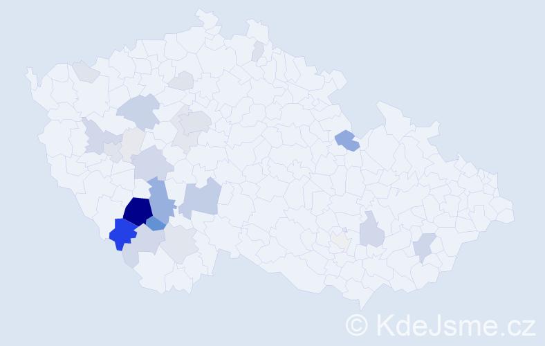 Příjmení: 'Chvosta', počet výskytů 131 v celé ČR