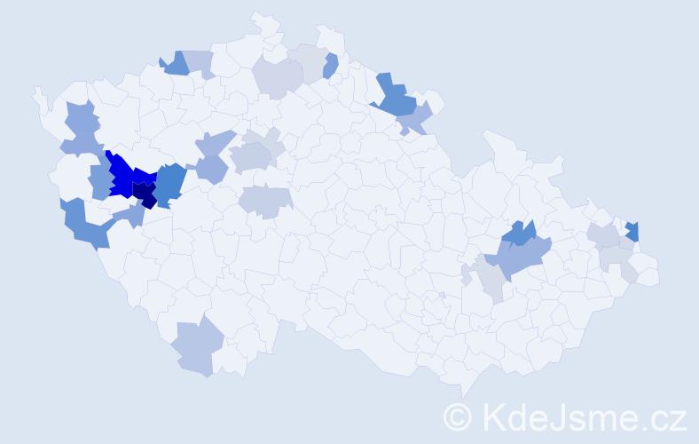 Příjmení: 'Bartovská', počet výskytů 105 v celé ČR