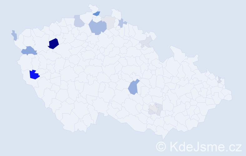 Příjmení: 'Bodi', počet výskytů 33 v celé ČR