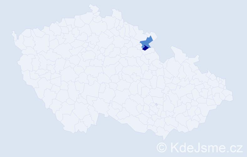 """Příjmení: '""""Bartoňová-Dobenínová""""', počet výskytů 3 v celé ČR"""