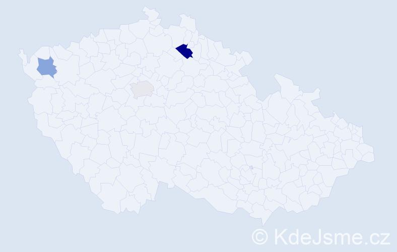 Příjmení: 'Bachora', počet výskytů 4 v celé ČR