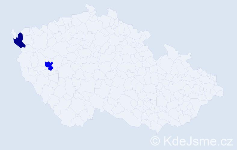 Příjmení: 'Ladmannová', počet výskytů 3 v celé ČR