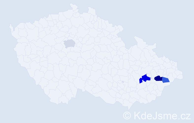 Příjmení: 'Jaremejko', počet výskytů 8 v celé ČR