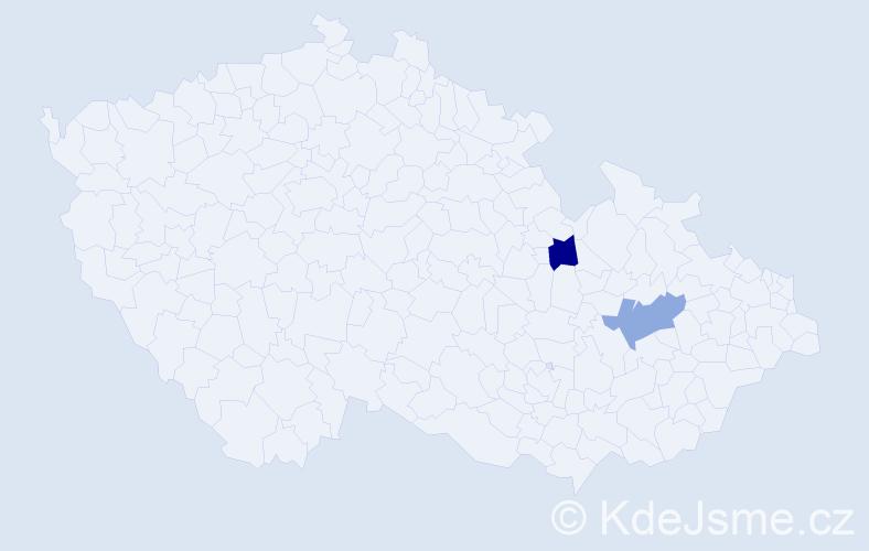 Příjmení: 'Hagemann', počet výskytů 2 v celé ČR
