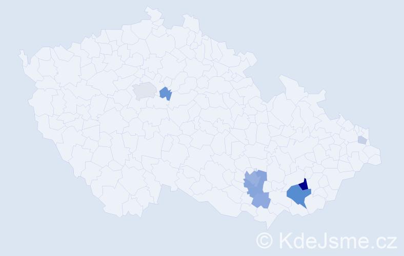 Příjmení: 'Dujíčková', počet výskytů 25 v celé ČR