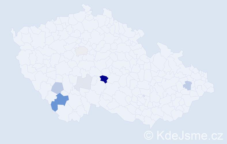 Příjmení: 'Alenková', počet výskytů 21 v celé ČR