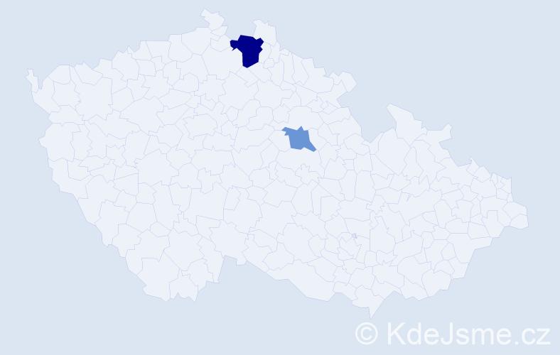 Příjmení: 'Hamašová', počet výskytů 4 v celé ČR