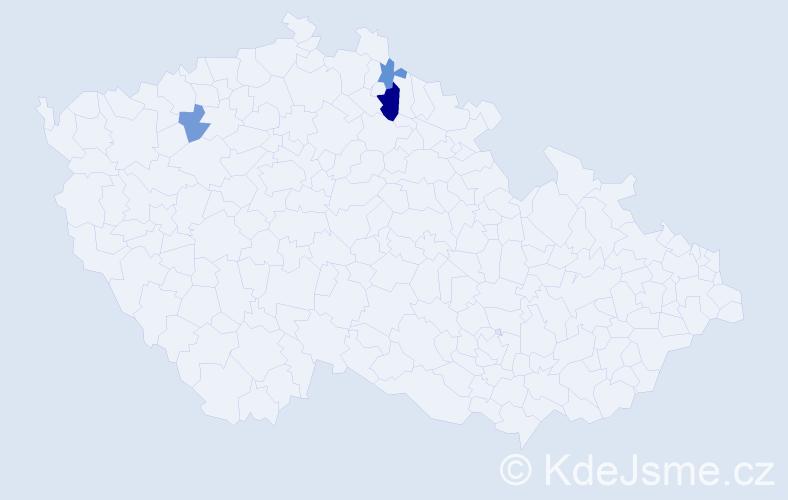 Příjmení: 'Baán', počet výskytů 5 v celé ČR