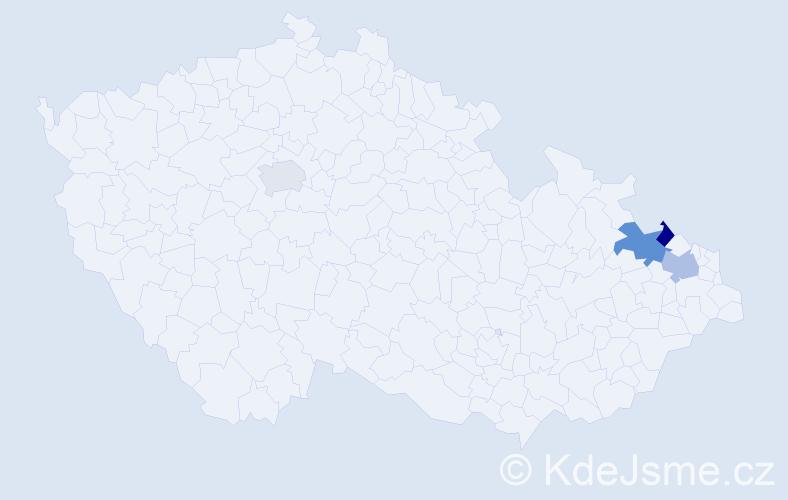 Příjmení: 'Abrahamčík', počet výskytů 15 v celé ČR