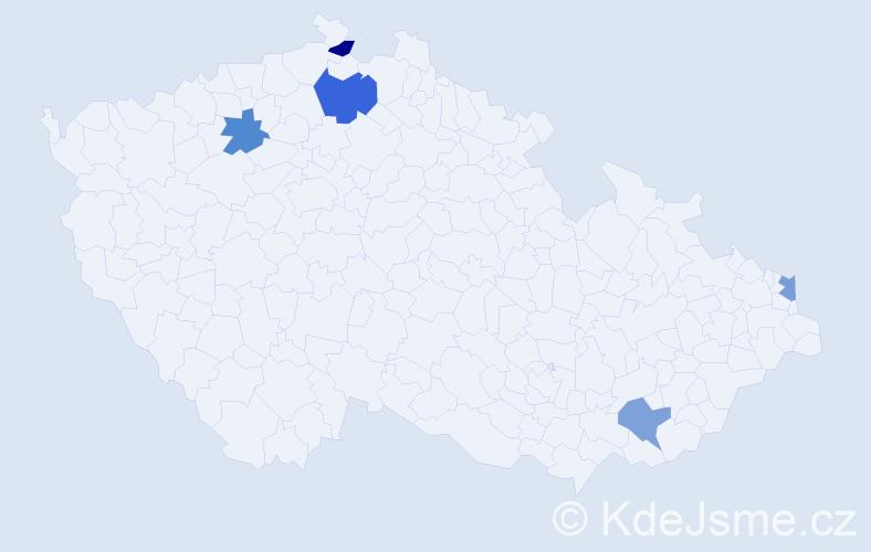 Příjmení: 'Kabáčová', počet výskytů 6 v celé ČR