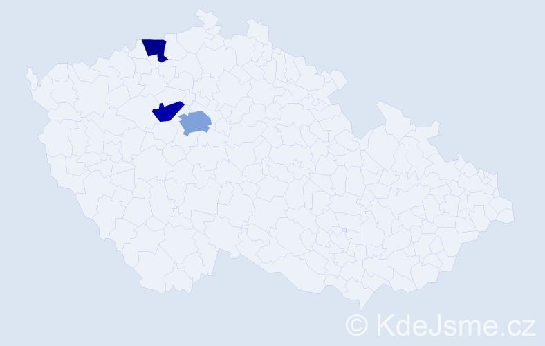 Příjmení: 'Čaradová', počet výskytů 4 v celé ČR