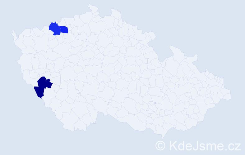Příjmení: 'Christof', počet výskytů 9 v celé ČR