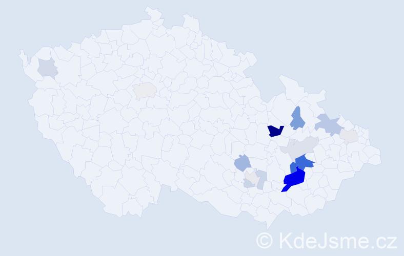 Příjmení: 'Hánečková', počet výskytů 36 v celé ČR