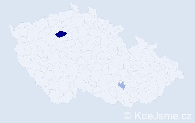 Příjmení: 'Ceccottiová', počet výskytů 2 v celé ČR