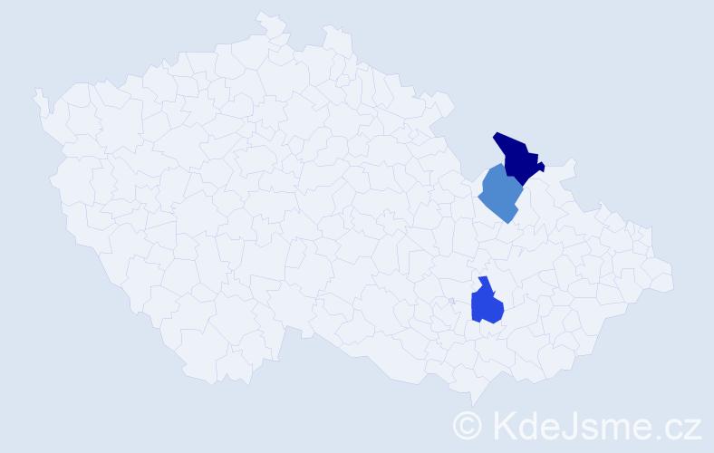 Příjmení: 'Ignačák', počet výskytů 13 v celé ČR