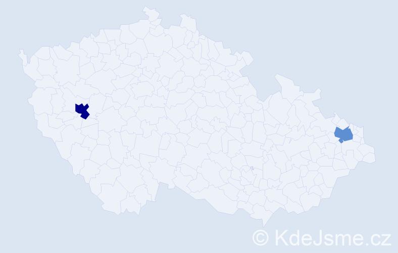 Příjmení: 'Cieciwová', počet výskytů 5 v celé ČR