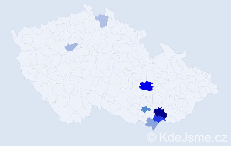 Příjmení: 'Krný', počet výskytů 14 v celé ČR