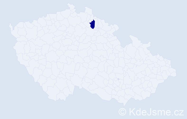 """Příjmení: '""""Emeriaud Jandová""""', počet výskytů 1 v celé ČR"""