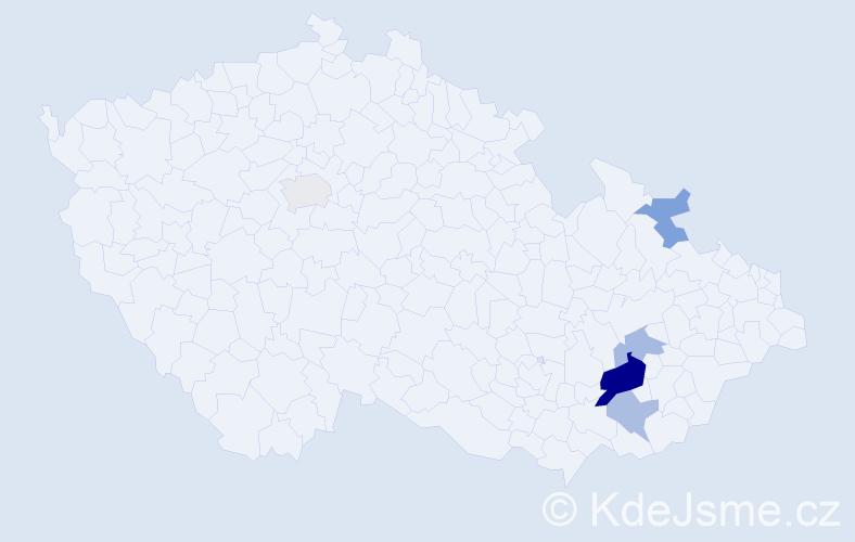 Příjmení: 'Haldinová', počet výskytů 10 v celé ČR