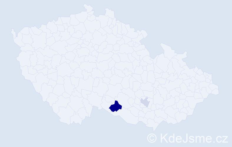 Příjmení: 'Čarnická', počet výskytů 5 v celé ČR