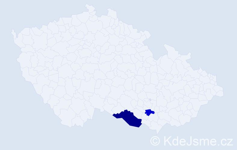 Příjmení: 'Doválel', počet výskytů 4 v celé ČR